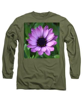 Purple Daisy Square Long Sleeve T-Shirt