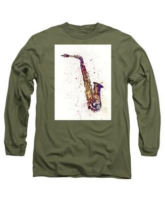 Saxophone Abstract Watercolor Long Sleeve T-Shirt