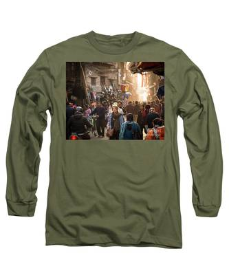 The Streets Of Kathmandu Long Sleeve T-Shirt by Didier Marti
