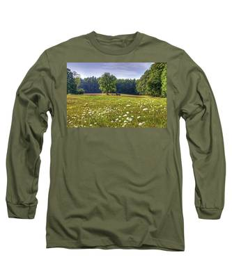 Tractor In Field With Flowers Long Sleeve T-Shirt