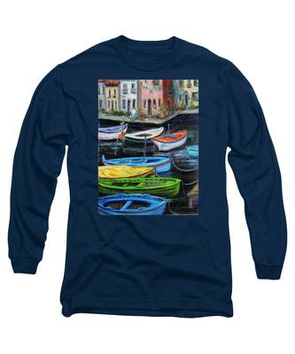 Boats In Front Of The Buildings II Long Sleeve T-Shirt