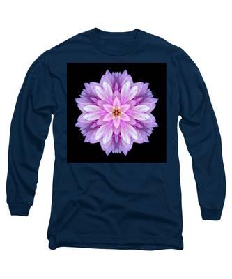 Violet Dahlia I Flower Mandala Long Sleeve T-Shirt