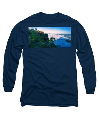 White Wafts Of Mist Around The Lilienstein Long Sleeve T-Shirt