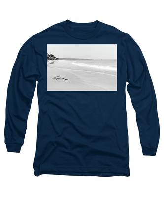Sand Meets The Sea In Black And White Long Sleeve T-Shirt