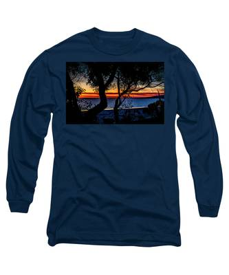 Silhouettes Over Blue Water Long Sleeve T-Shirt