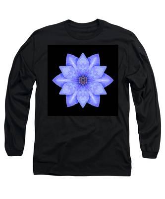Blue Clematis Flower Mandala Long Sleeve T-Shirt