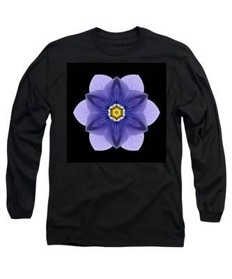 Blue Pansy I Flower Mandala Long Sleeve T-Shirt