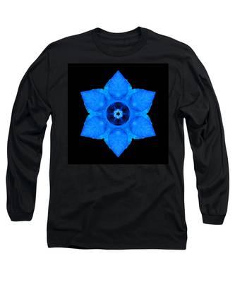 Blue Pansy II Flower Mandala Long Sleeve T-Shirt