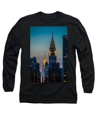 Chrysler Building At Sunset Long Sleeve T-Shirt