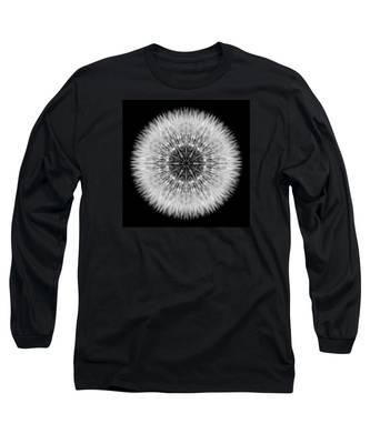Dandelion Head Flower Mandala Long Sleeve T-Shirt