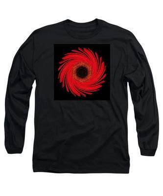 Dying Amaryllis Flower Mandala Long Sleeve T-Shirt