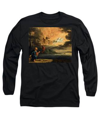 Elijah Taken Up Into Heaven In The Chariot Of Fire Long Sleeve T-Shirt