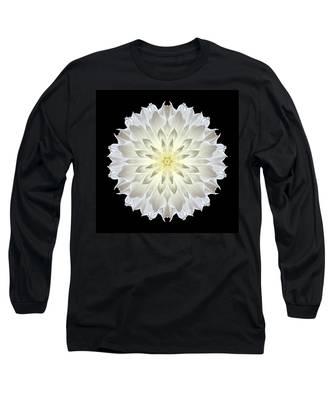 Giant White Dahlia Flower Mandala Long Sleeve T-Shirt