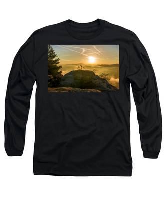 Golden Morning On The Lilienstein Long Sleeve T-Shirt