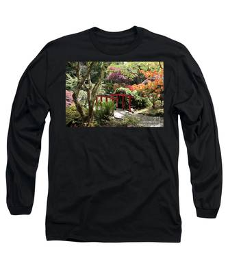 Japanese Garden Bridge With Rhododendrons Long Sleeve T-Shirt