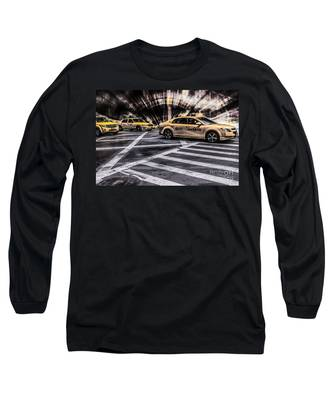 Nyc Yellow Cab On 5th Street - White Long Sleeve T-Shirt