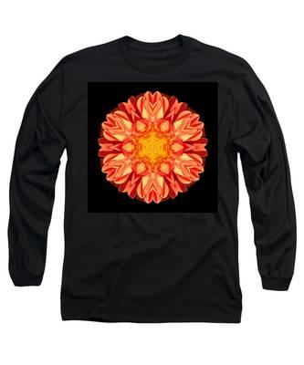 Orange Dahlia Flower Mandala Long Sleeve T-Shirt