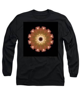 Pale Pink Tulip Flower Mandala Long Sleeve T-Shirt
