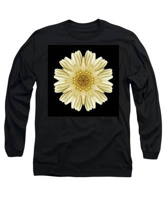 Pale Yellow Gerbera Daisy IIi Flower Mandala Long Sleeve T-Shirt