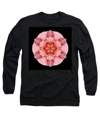 Pink And Orange Rose Iv Flower Mandala Long Sleeve T-Shirt
