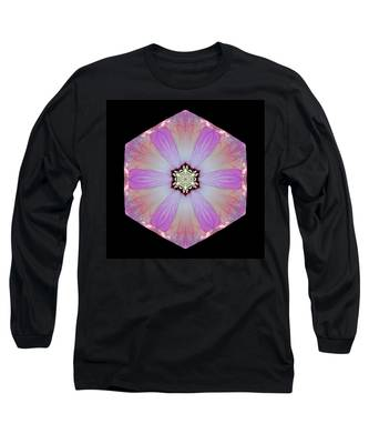 Pink And White Hibiscus Moscheutos I Flower Mandala Long Sleeve T-Shirt