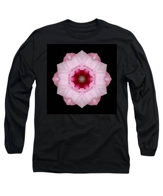 Pink Hibiscus I Flower Mandala Long Sleeve T-Shirt