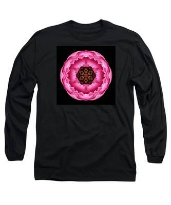 Pink Peony Flower Mandala Long Sleeve T-Shirt