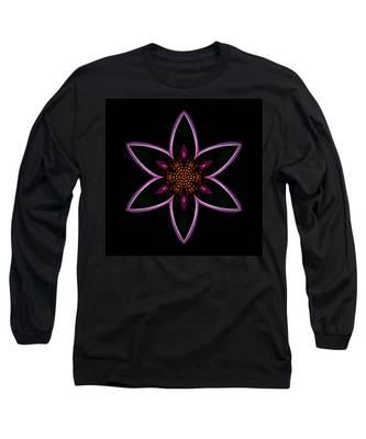 Purple Echinacea Flower Mandala Long Sleeve T-Shirt