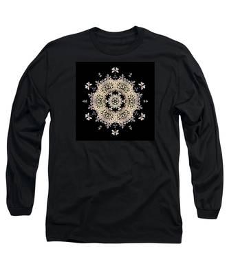 Queen Anne's Lace Flower Mandala Long Sleeve T-Shirt