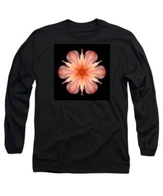 Salmon Daylily I Flower Mandala Long Sleeve T-Shirt