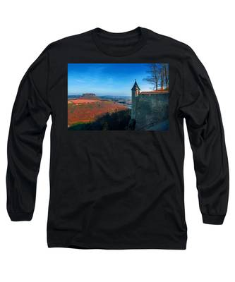 The Lilienstein Behind The Fortress Koenigstein Long Sleeve T-Shirt