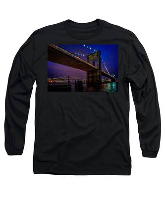 Twilight At The Brooklyn Bridge Long Sleeve T-Shirt