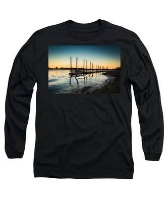 Wavy Sunset Kings Park New York Long Sleeve T-Shirt
