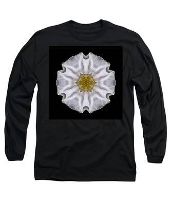 White Beach Rose I Flower Mandala Long Sleeve T-Shirt