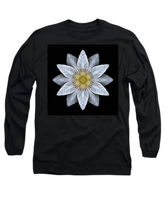 White Clematis Flower Mandala Long Sleeve T-Shirt