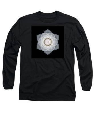 White Rose I Flower Mandala Long Sleeve T-Shirt