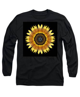 Yellow And Brown Sunflower Flower Mandala Long Sleeve T-Shirt