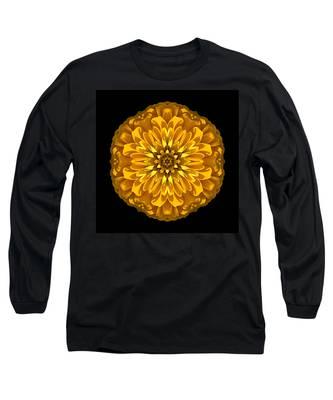 Yellow Zinnia Elegans Flower Mandala Long Sleeve T-Shirt
