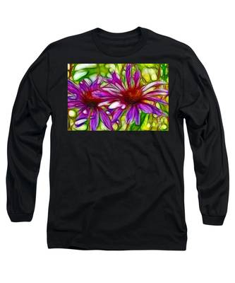 Two Purple Daisy's Fractal Long Sleeve T-Shirt