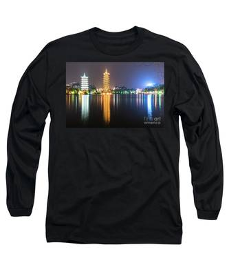 The Moon And Sun Pagodas In Guilin In China Long Sleeve T-Shirt by Didier Marti