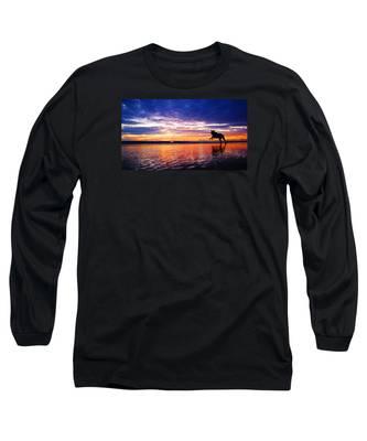 Dog Chasing Stick At Sunrise Long Sleeve T-Shirt