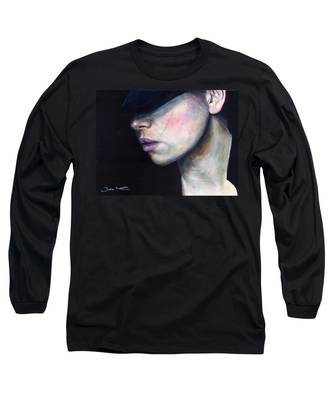 Girl In Black Hat Long Sleeve T-Shirt