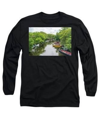River Boat Dock Long Sleeve T-Shirt