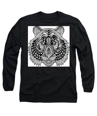 Long Sleeve T-Shirt featuring the drawing Roar by Vicki Winchester