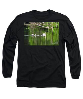 Swan Family With Triplets Long Sleeve T-Shirt