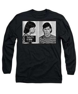 Young Steven Tyler Mug Shot 1963 Pencil Photograph Black And White Long Sleeve T-Shirt