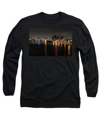 Miami Lights At Night Long Sleeve T-Shirt