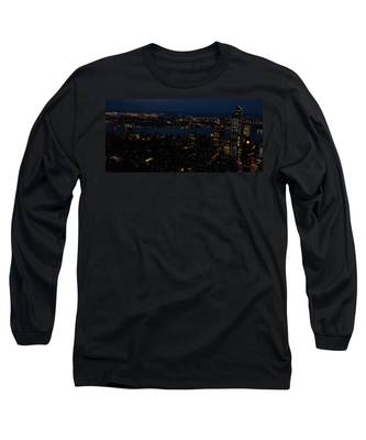 New York City Skyline At Night Long Sleeve T-Shirt