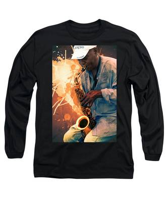 Street Sax Player Long Sleeve T-Shirt