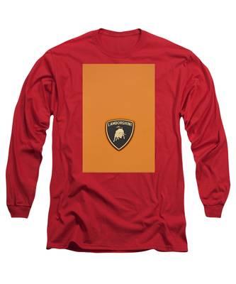 Lambo Hood Ornament Orange Long Sleeve T-Shirt